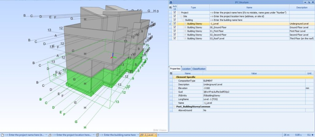 IFC Revit model preview in BIMvision