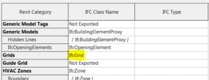 Revit IFC export settings set to IfcGrid for Grids category
