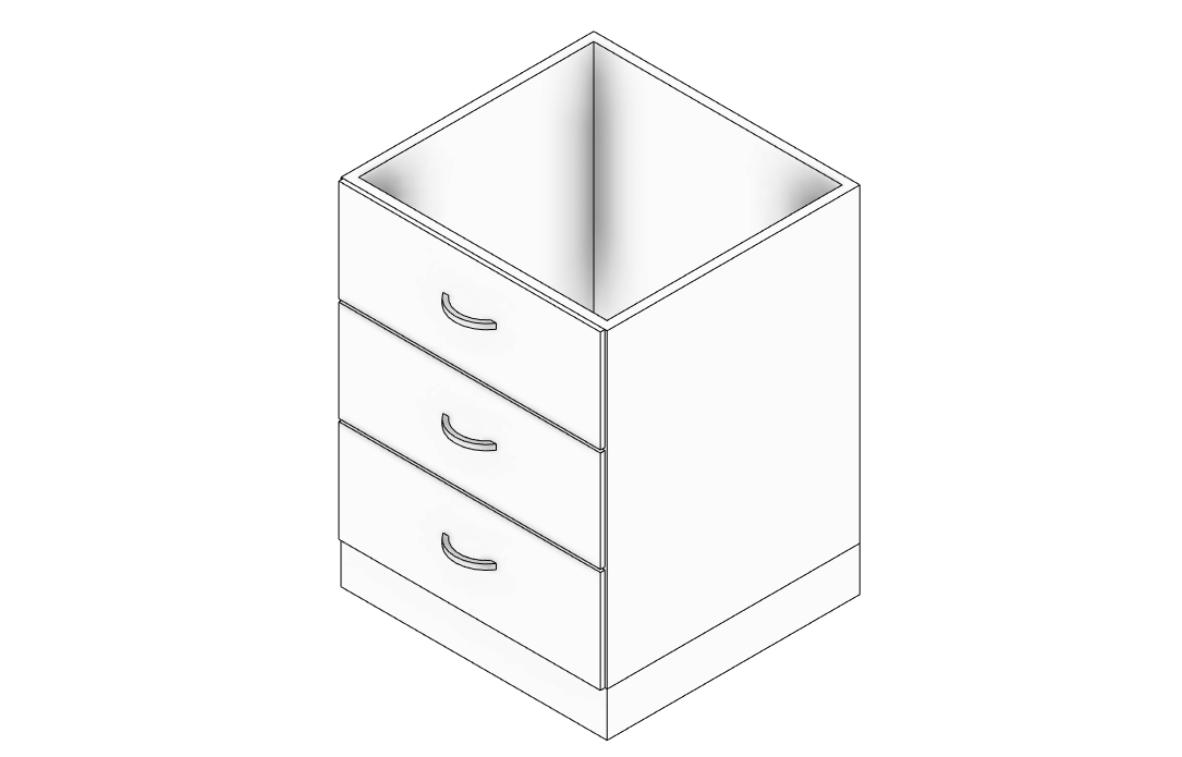 Picture of: Kitchen Base Cabinet With 3 Drawers Engipedia